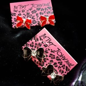 Betsey Johnson Bow Earrings - 2 pairs